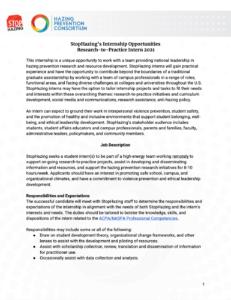 Research to practice intern description